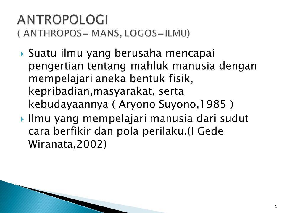 ANTROPOLOGI ( ANTHROPOS= MANS, LOGOS=ILMU)
