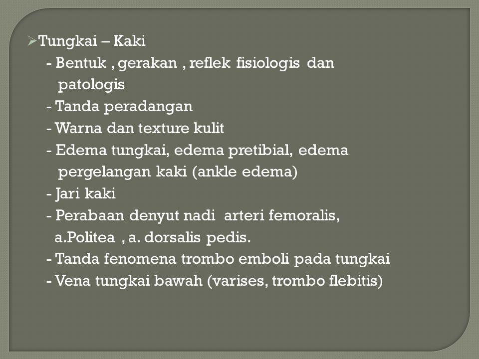 Tungkai – Kaki - Bentuk , gerakan , reflek fisiologis dan. patologis. - Tanda peradangan. - Warna dan texture kulit.