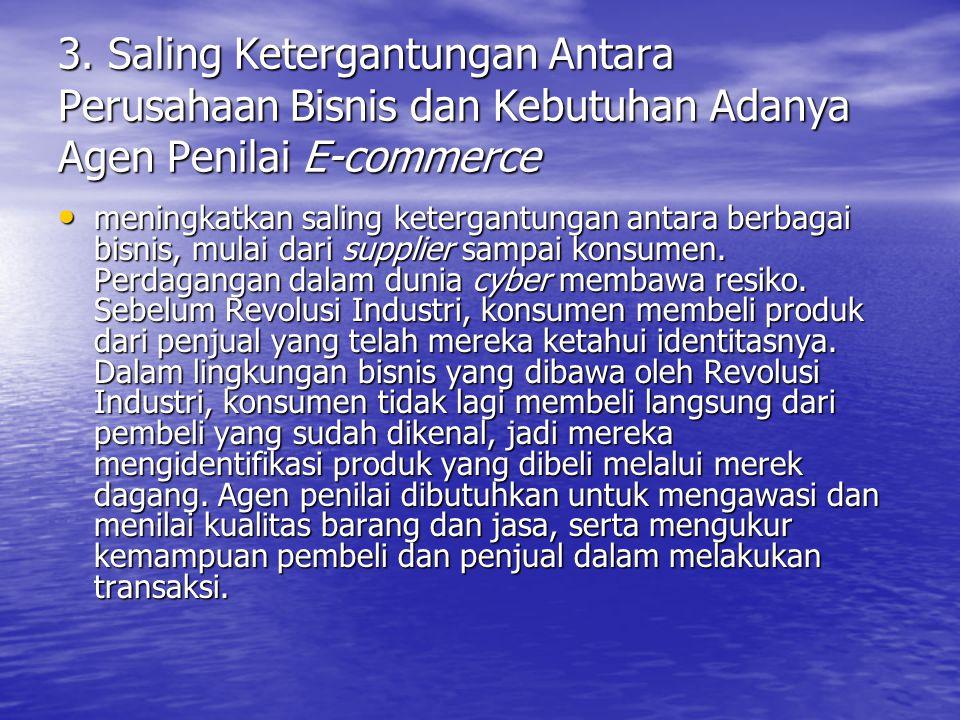 3. Saling Ketergantungan Antara Perusahaan Bisnis dan Kebutuhan Adanya Agen Penilai E-commerce