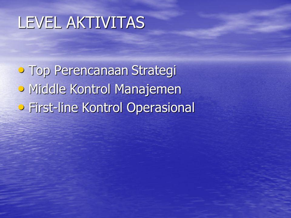 LEVEL AKTIVITAS Top Perencanaan Strategi Middle Kontrol Manajemen