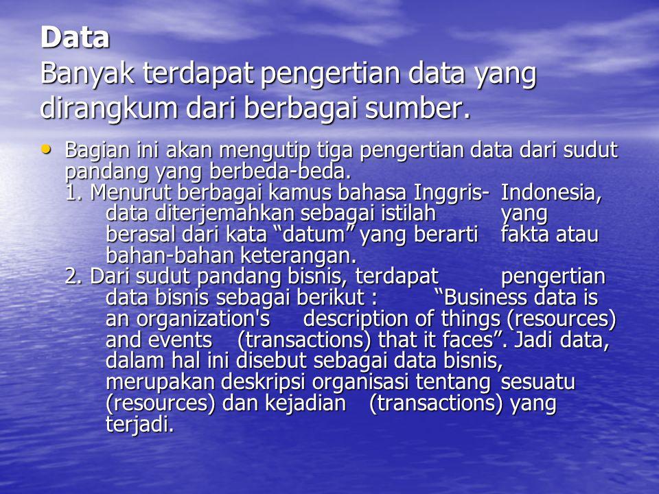 Data Banyak terdapat pengertian data yang dirangkum dari berbagai sumber.