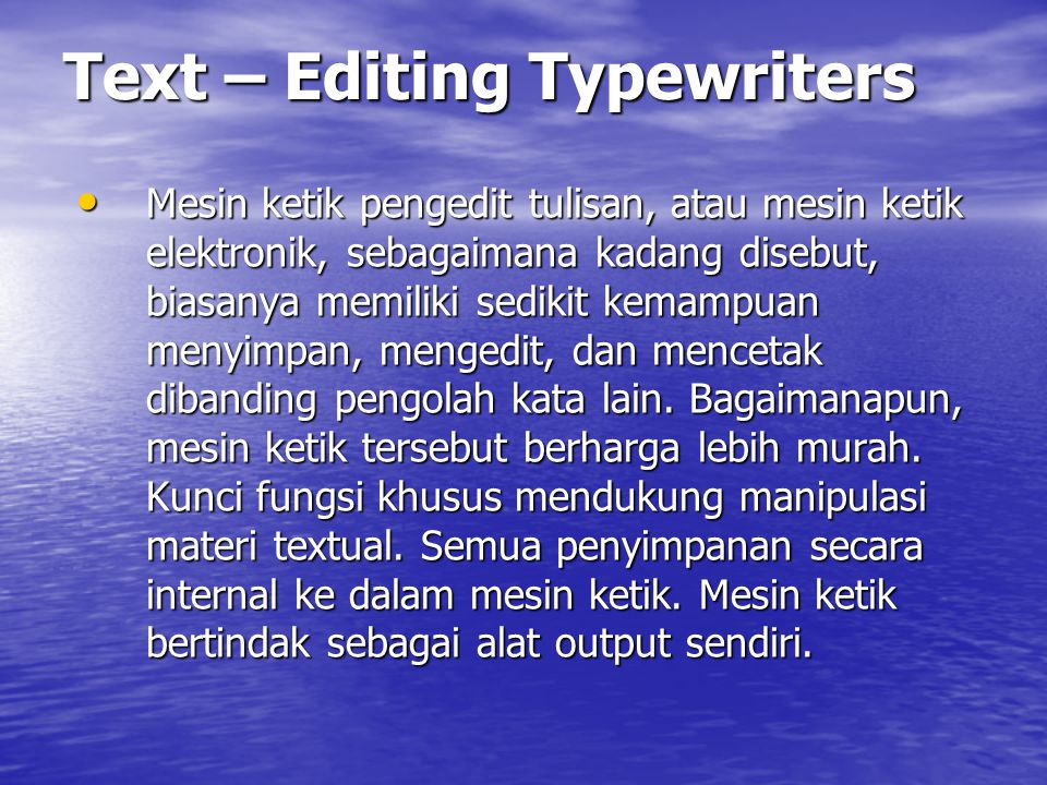 Text – Editing Typewriters
