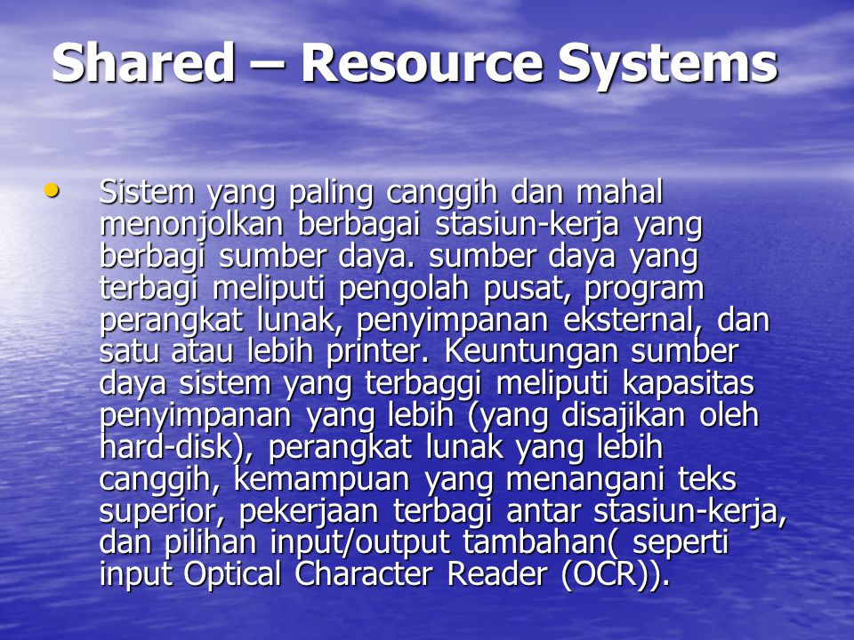 Shared – Resource Systems