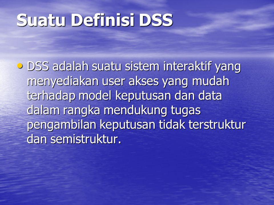 Suatu Definisi DSS