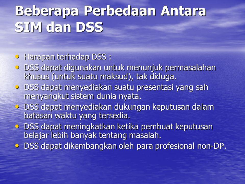 Beberapa Perbedaan Antara SIM dan DSS