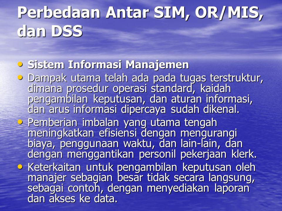 Perbedaan Antar SIM, OR/MIS, dan DSS