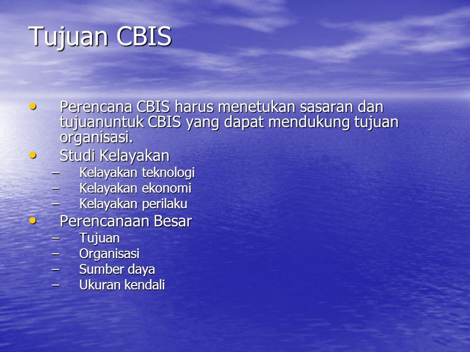 Tujuan CBIS Perencana CBIS harus menetukan sasaran dan tujuanuntuk CBIS yang dapat mendukung tujuan organisasi.