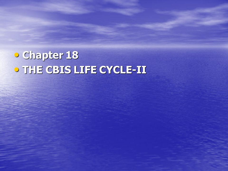 Chapter 18 THE CBIS LIFE CYCLE-II