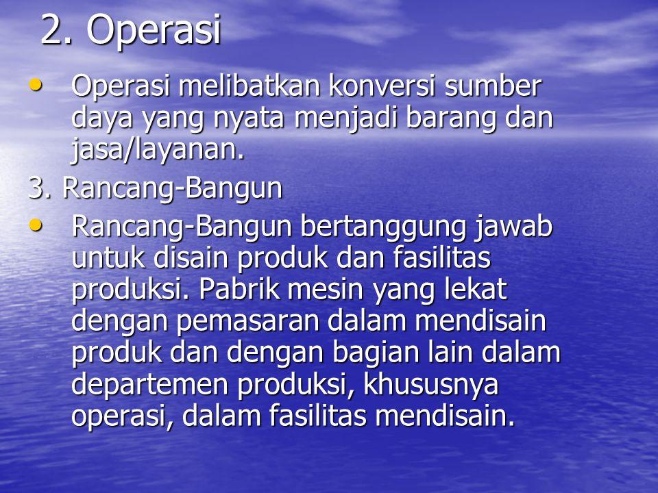 2. Operasi Operasi melibatkan konversi sumber daya yang nyata menjadi barang dan jasa/layanan. 3. Rancang-Bangun.
