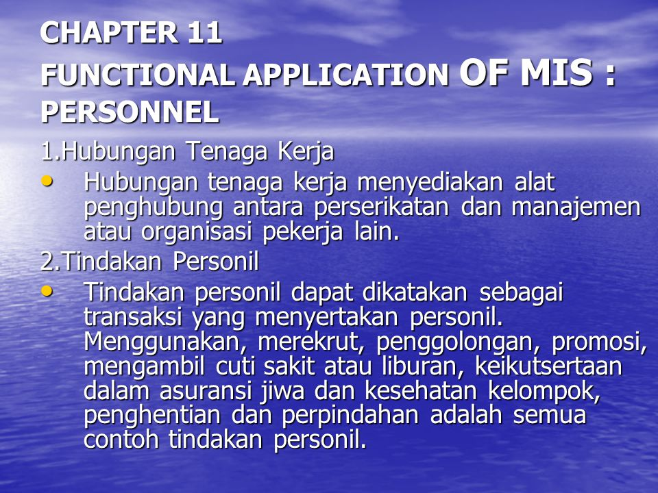 CHAPTER 11 FUNCTIONAL APPLICATION OF MIS : PERSONNEL