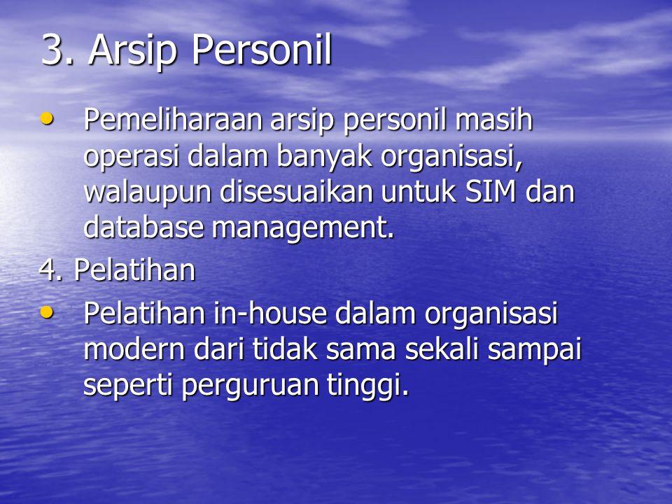 3. Arsip Personil Pemeliharaan arsip personil masih operasi dalam banyak organisasi, walaupun disesuaikan untuk SIM dan database management.