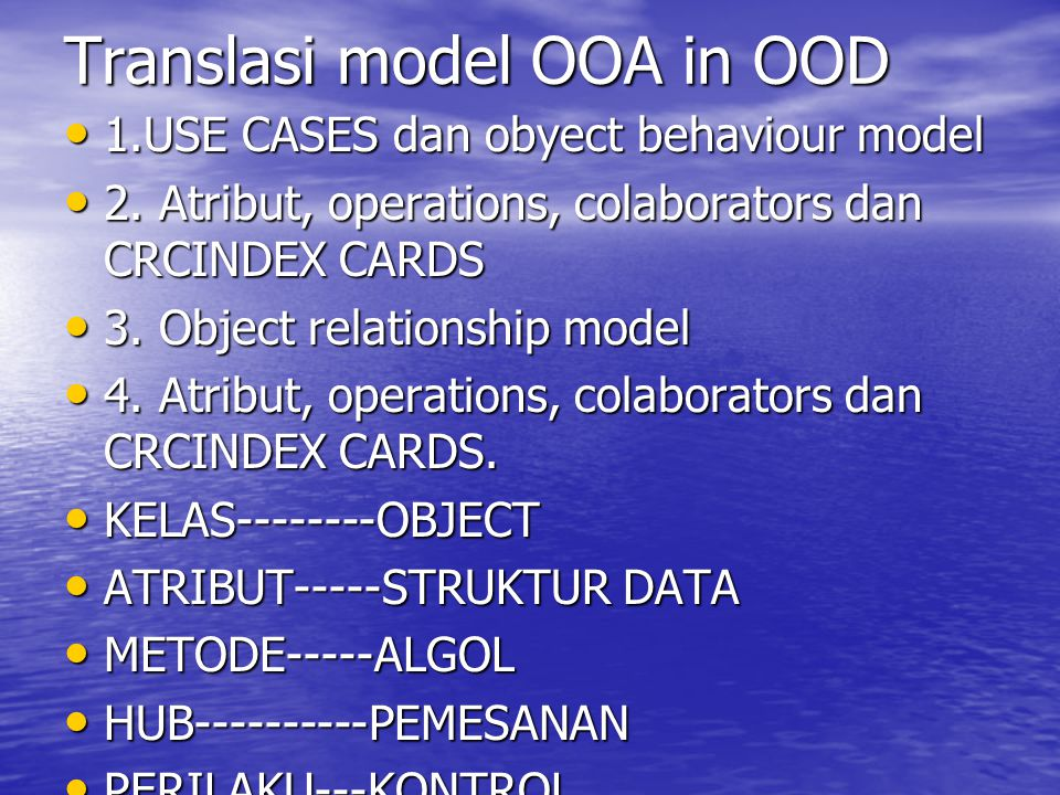 Translasi model OOA in OOD