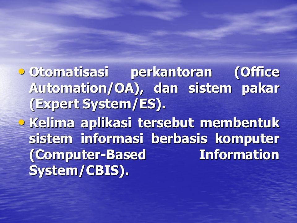 Otomatisasi perkantoran (Office Automation/OA), dan sistem pakar (Expert System/ES).