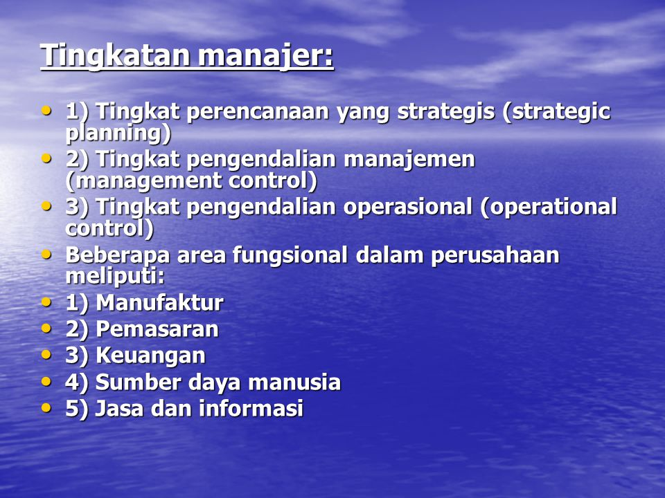 Tingkatan manajer: 1) Tingkat perencanaan yang strategis (strategic planning) 2) Tingkat pengendalian manajemen (management control)