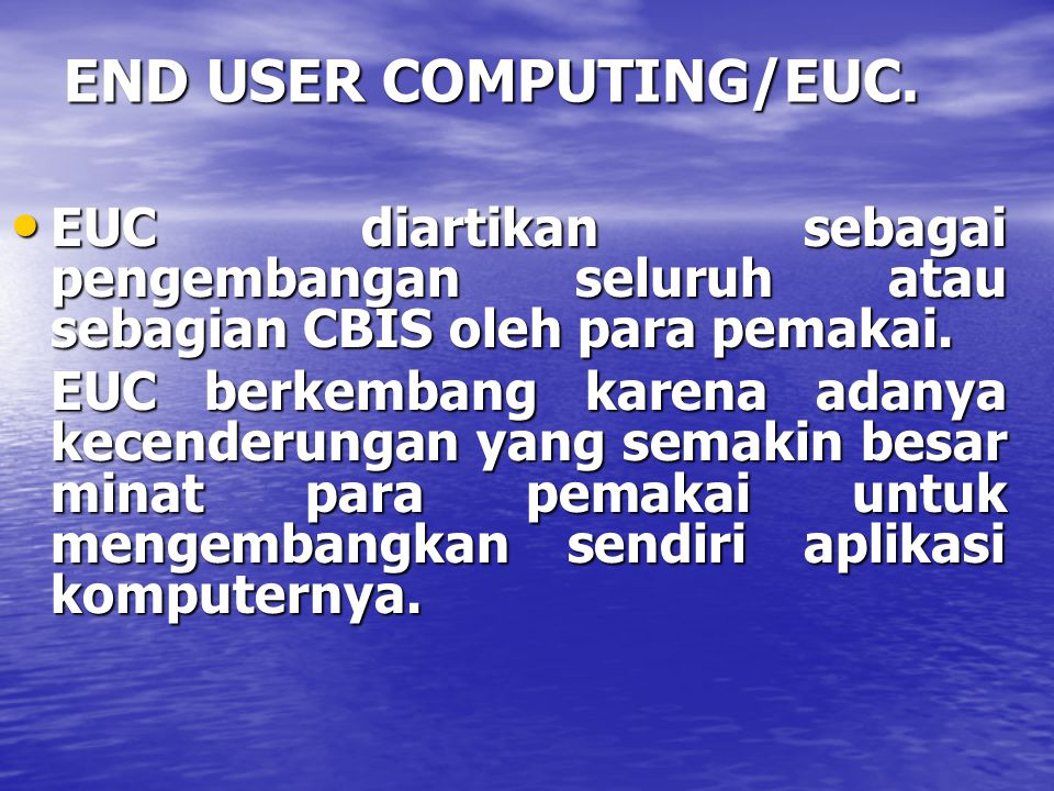 END USER COMPUTING/EUC.