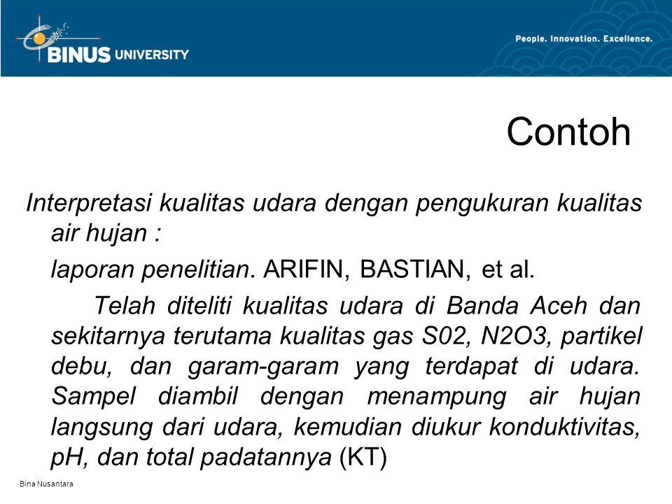 Contoh Interpretasi kualitas udara dengan pengukuran kualitas air hujan : laporan penelitian. ARIFIN, BASTIAN, et al.