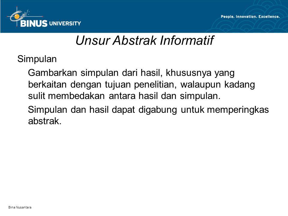 Unsur Abstrak Informatif