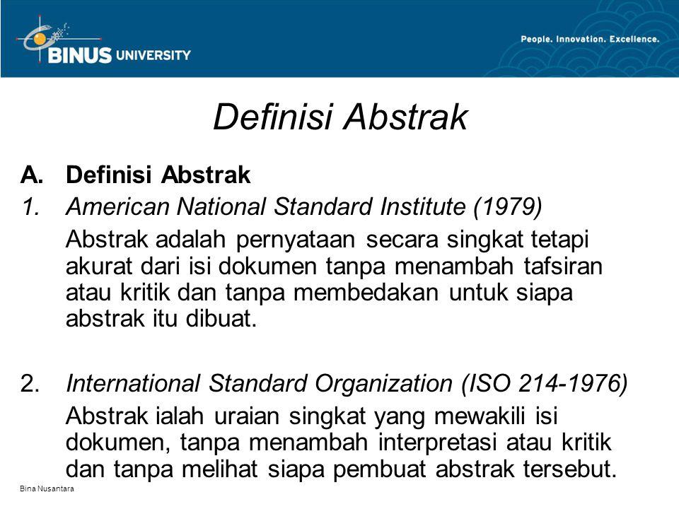 Definisi Abstrak Definisi Abstrak