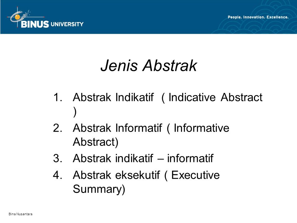 Jenis Abstrak Abstrak Indikatif ( Indicative Abstract )