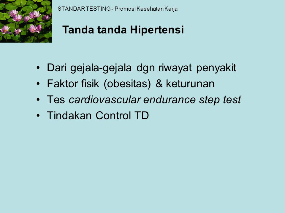 STANDAR TESTING - Promosi Kesehatan Kerja