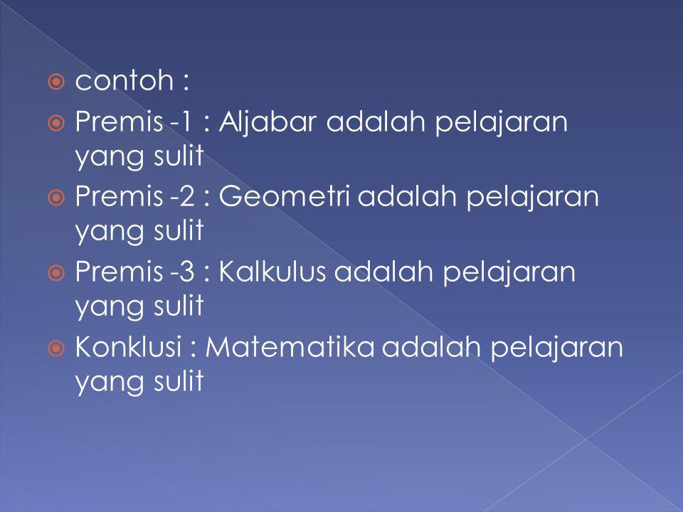 contoh : Premis -1 : Aljabar adalah pelajaran yang sulit. Premis -2 : Geometri adalah pelajaran yang sulit.