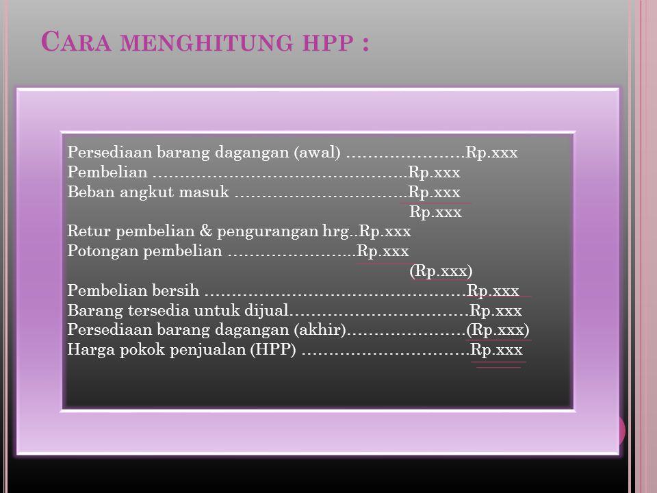 Cara menghitung hpp : Persediaan barang dagangan (awal) ………………….Rp.xxx