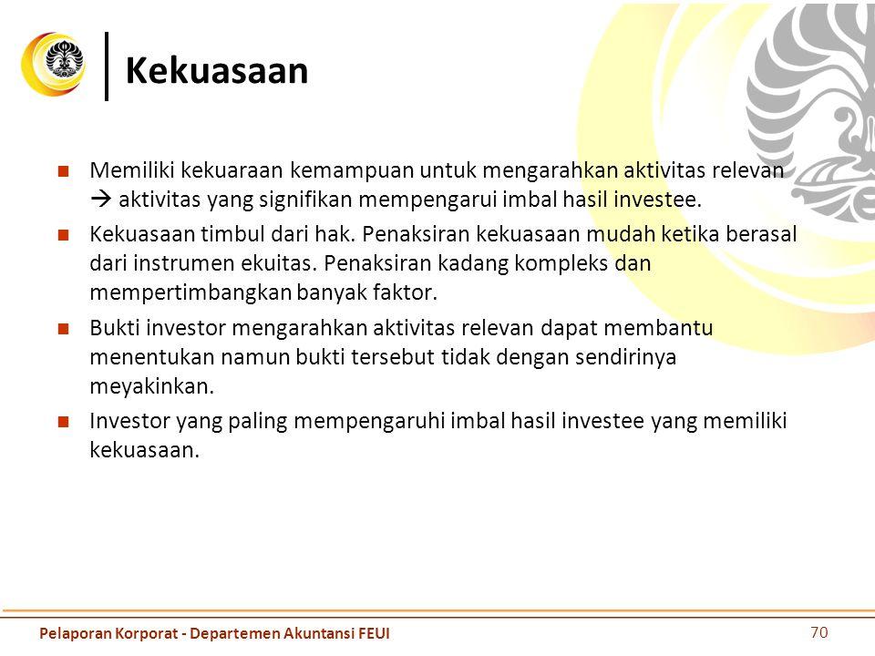 Kekuasaan Memiliki kekuaraan kemampuan untuk mengarahkan aktivitas relevan  aktivitas yang signifikan mempengarui imbal hasil investee.