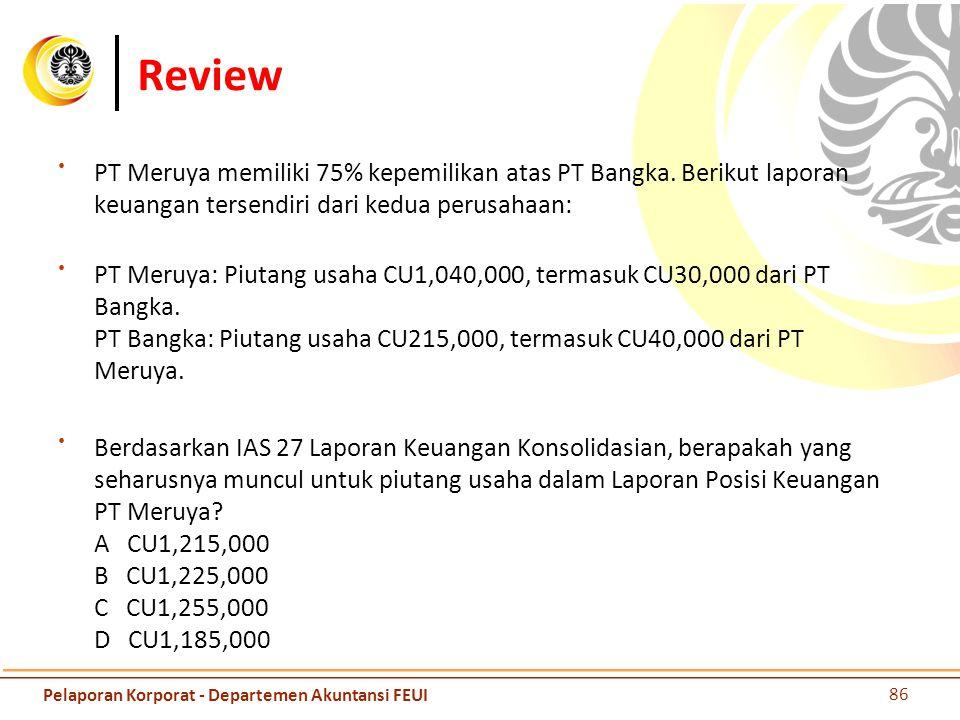 Review PT Meruya memiliki 75% kepemilikan atas PT Bangka. Berikut laporan keuangan tersendiri dari kedua perusahaan: