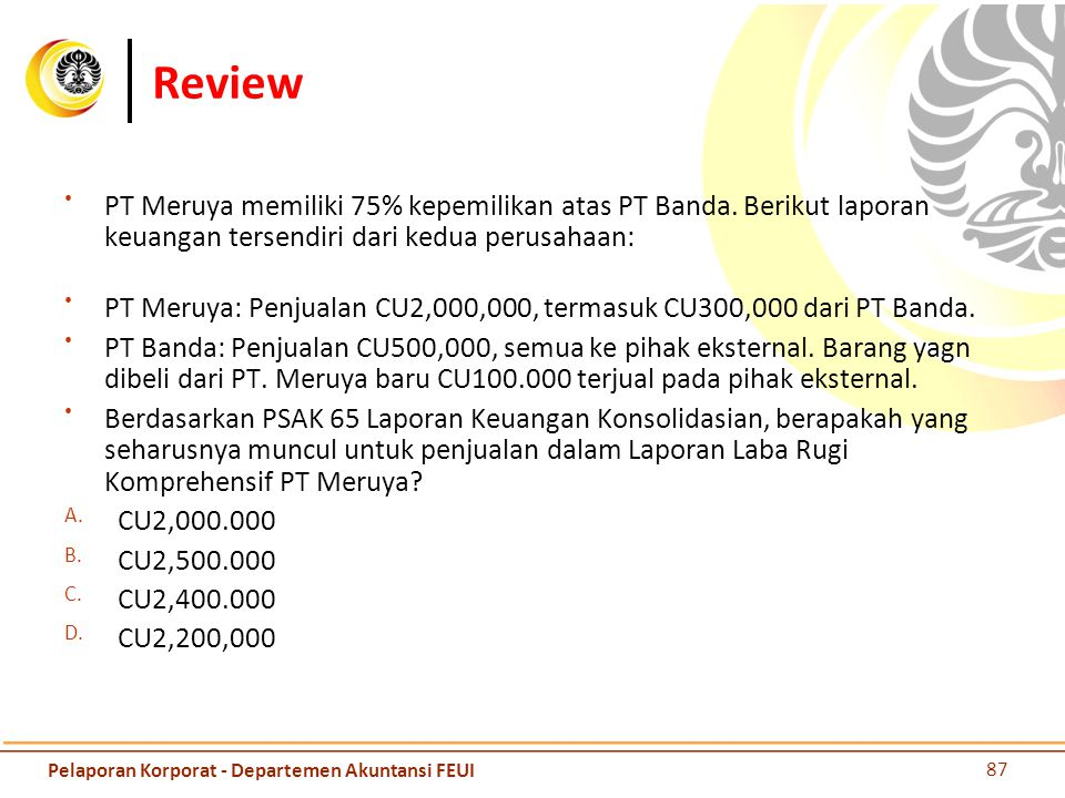 Review PT Meruya memiliki 75% kepemilikan atas PT Banda. Berikut laporan keuangan tersendiri dari kedua perusahaan: