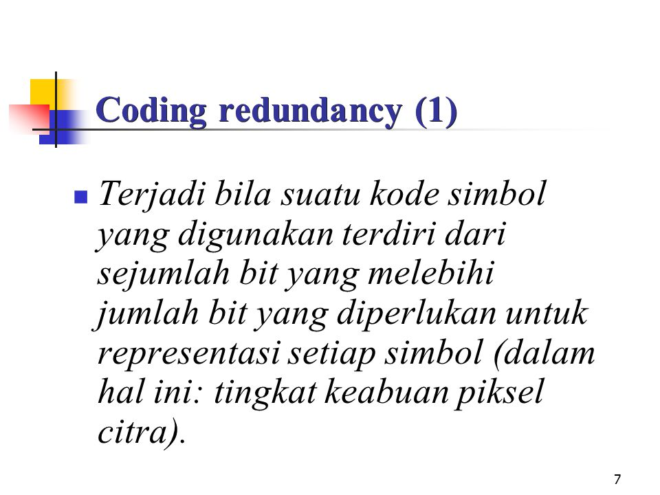 Coding redundancy (1)