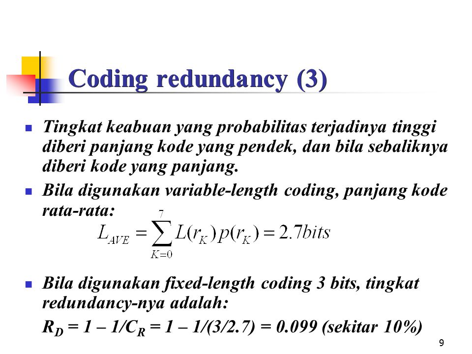 Coding redundancy (3)
