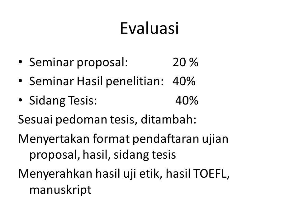 Evaluasi Seminar proposal: 20 % Seminar Hasil penelitian: 40%