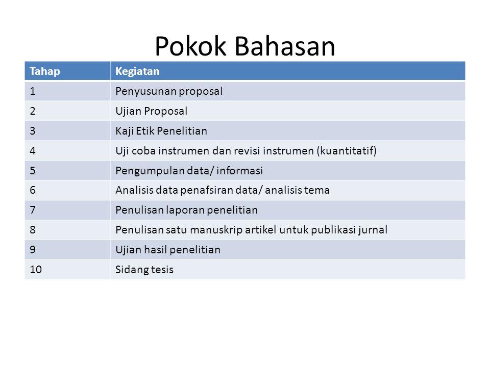 Pokok Bahasan Tahap Kegiatan 1 Penyusunan proposal 2 Ujian Proposal 3