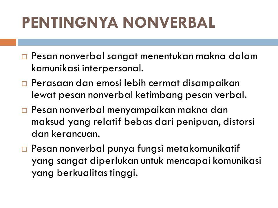PENTINGNYA NONVERBAL Pesan nonverbal sangat menentukan makna dalam komunikasi interpersonal.