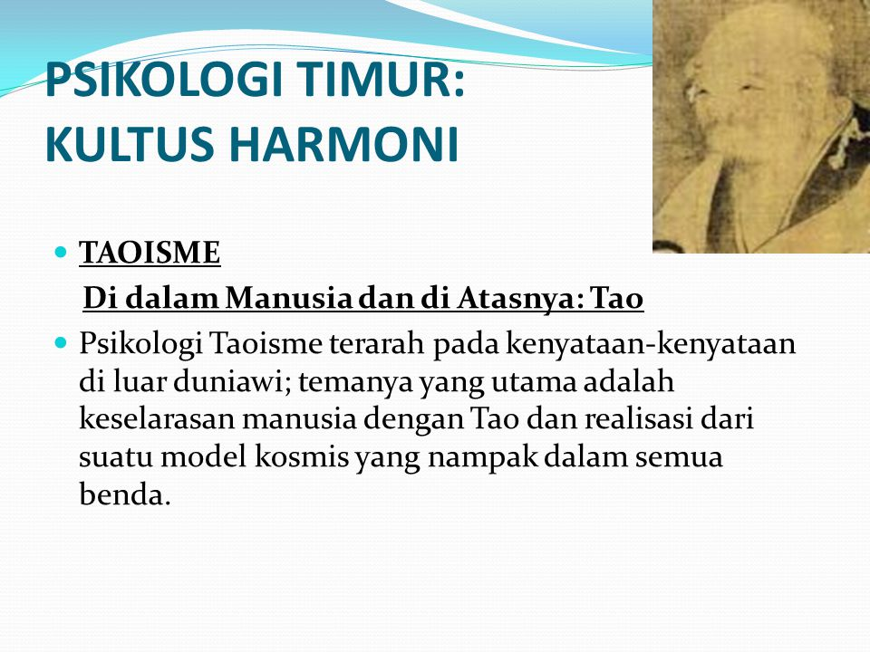 PSIKOLOGI TIMUR: KULTUS HARMONI