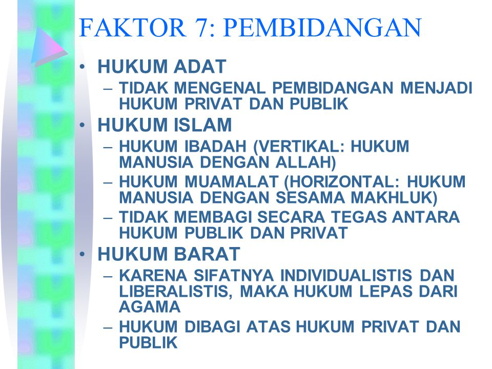 FAKTOR 7: PEMBIDANGAN HUKUM ADAT HUKUM ISLAM HUKUM BARAT