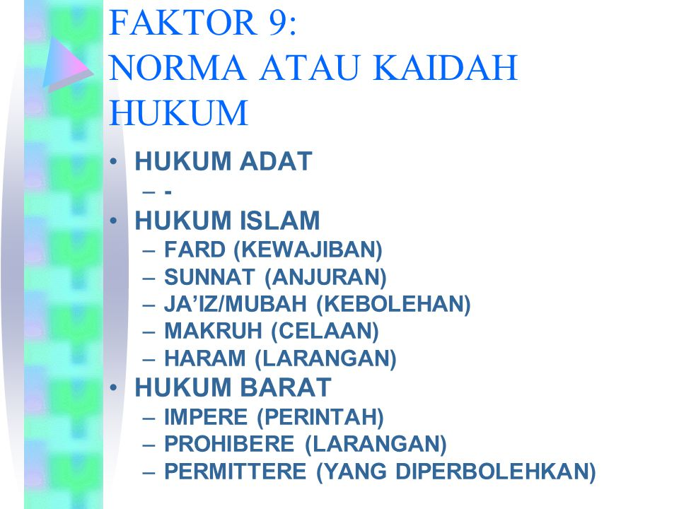 FAKTOR 9: NORMA ATAU KAIDAH HUKUM