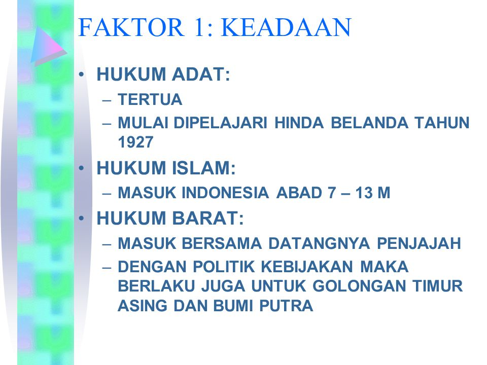FAKTOR 1: KEADAAN HUKUM ADAT: HUKUM ISLAM: HUKUM BARAT: TERTUA