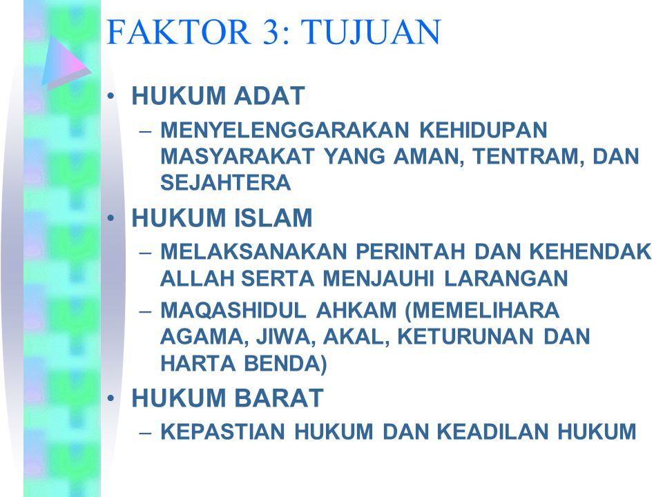 FAKTOR 3: TUJUAN HUKUM ADAT HUKUM ISLAM HUKUM BARAT