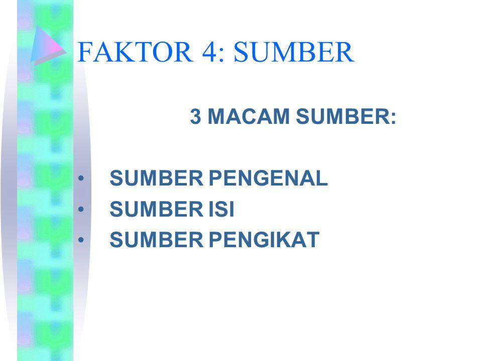 FAKTOR 4: SUMBER 3 MACAM SUMBER: SUMBER PENGENAL SUMBER ISI
