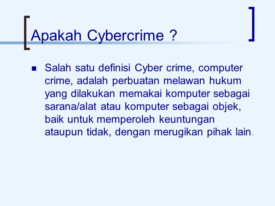 Apakah Cybercrime