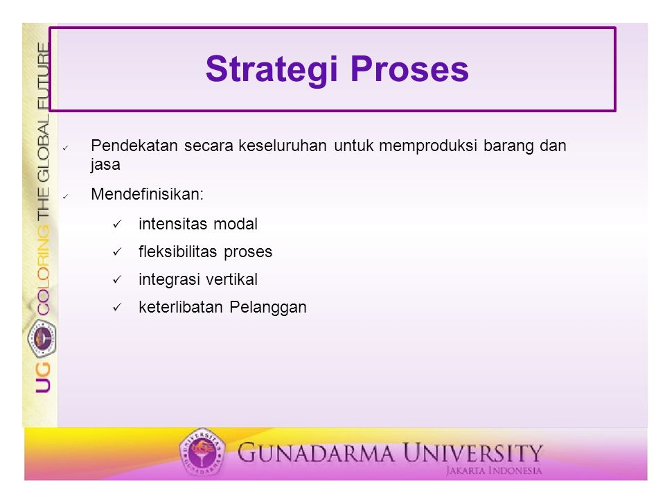 Strategi Proses Pendekatan secara keseluruhan untuk memproduksi barang dan jasa. Mendefinisikan: intensitas modal.