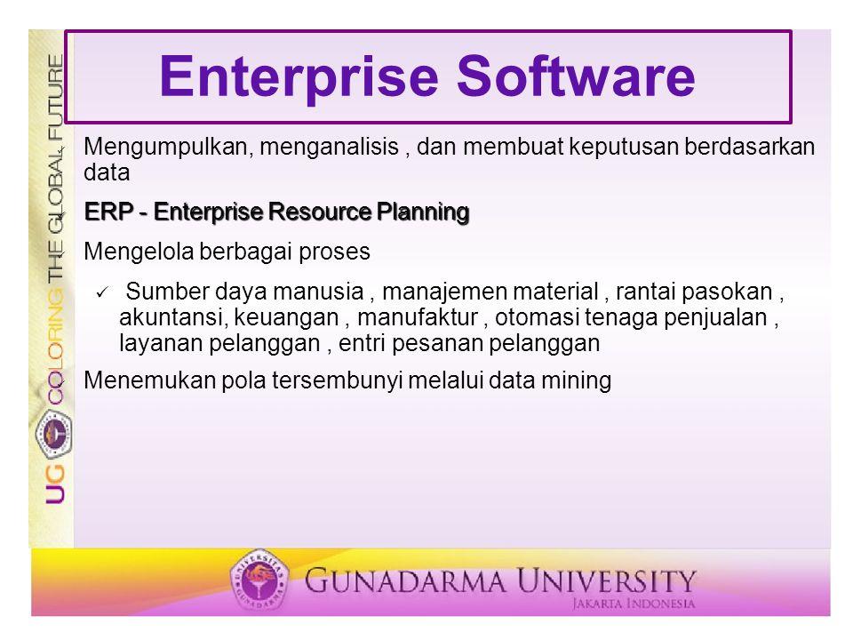 Enterprise Software Mengumpulkan, menganalisis , dan membuat keputusan berdasarkan data. ERP - Enterprise Resource Planning.