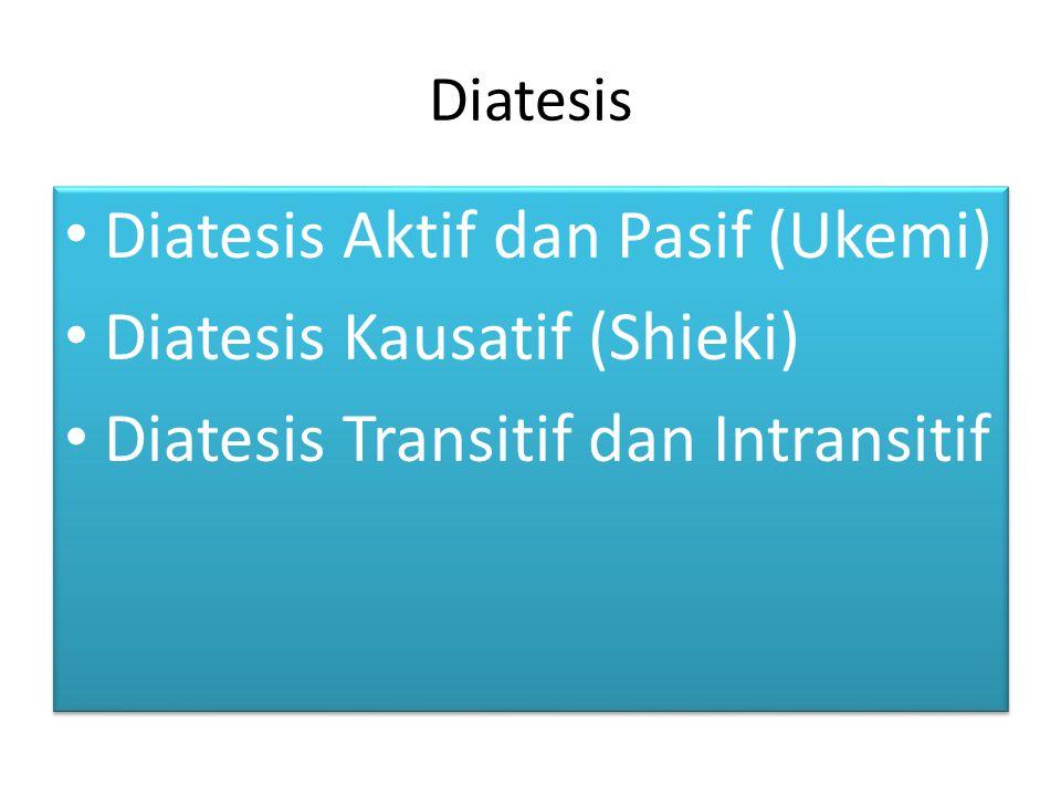 Diatesis Aktif dan Pasif (Ukemi) Diatesis Kausatif (Shieki)