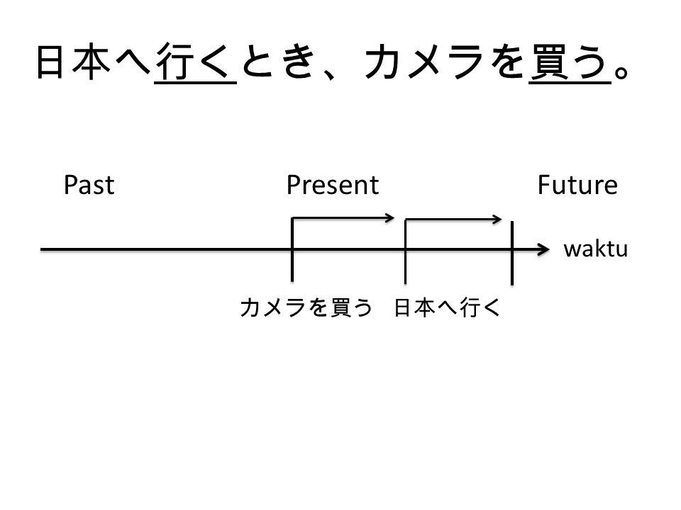 日本へ行くとき、カメラを買う。 Past Present Future. カメラを買う 日本へ行く.