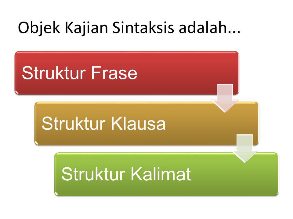 Objek Kajian Sintaksis adalah...