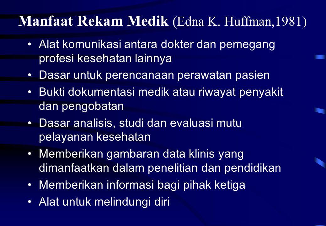 Manfaat Rekam Medik (Edna K. Huffman,1981)
