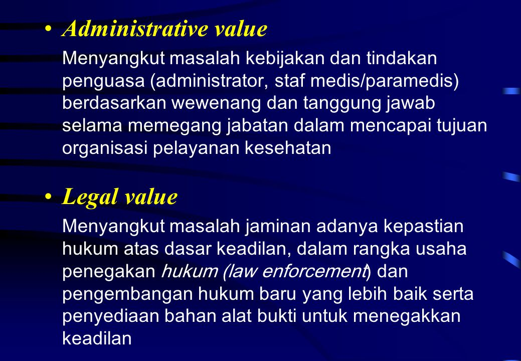 Administrative value Legal value
