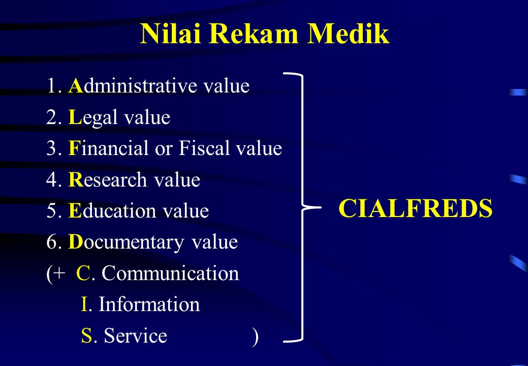 Nilai Rekam Medik CIALFREDS 1. Administrative value 2. Legal value