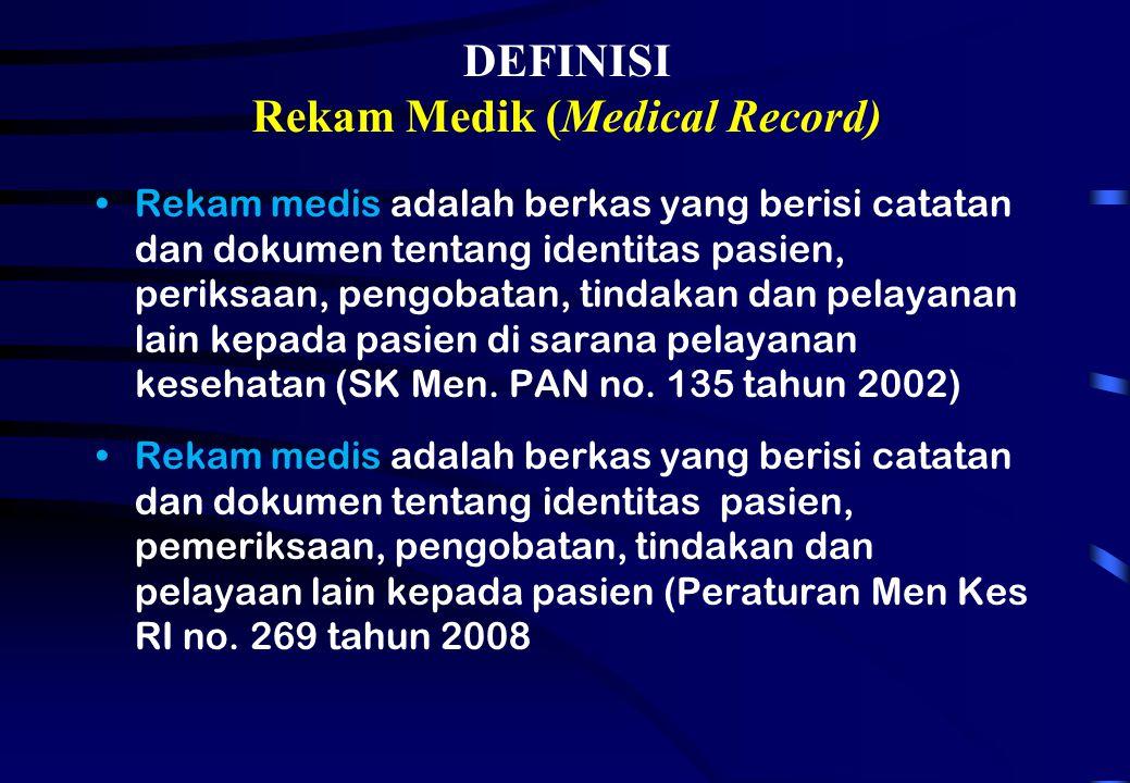 DEFINISI Rekam Medik (Medical Record)
